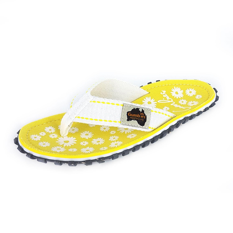 gumbies damen zehentrenner gelb wei schuhe in. Black Bedroom Furniture Sets. Home Design Ideas