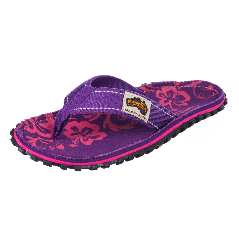 Gumbies Zehentrenner in Übergrößen Violett Gumbies Islander Purple Hibiscus große Damenschuhe – Bild 2