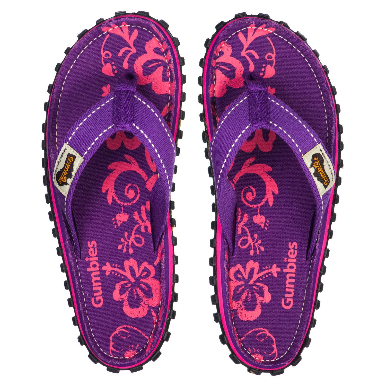 Gumbies Zehentrenner in Übergrößen Violett Gumbies Islander Purple Hibiscus große Damenschuhe – Bild 1