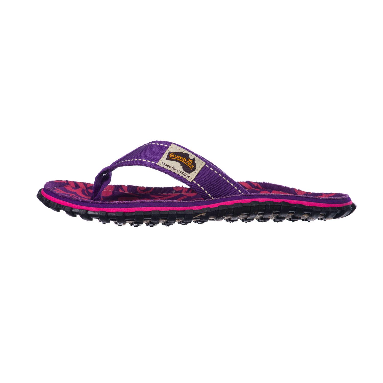 Gumbies Zehentrenner in Übergrößen Violett Gumbies Islander Purple Hibiscus große Damenschuhe – Bild 3