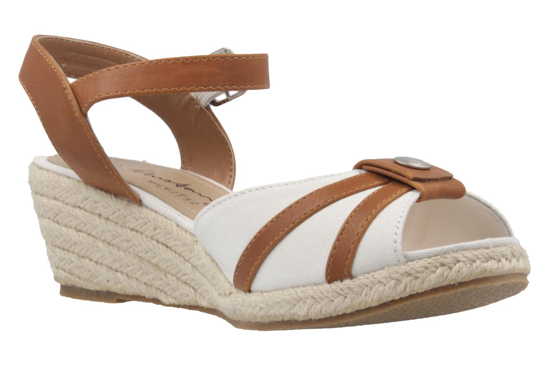 MUSTANG - Damen Keil-Sandaletten - Weiß Schuhe in Übergrößen – Bild 5