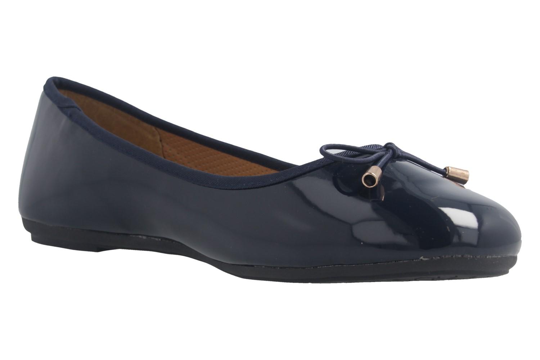 Fitters Footwear Ballerinas in Übergrößen Blau 2.514378 Fiona Navy Patent große Damenschuhe – Bild 5