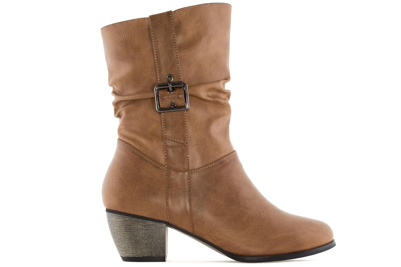 ANDRES MACHADO - Damen Stiefel - Cognac Schuhe in Übergrößen – Bild 3