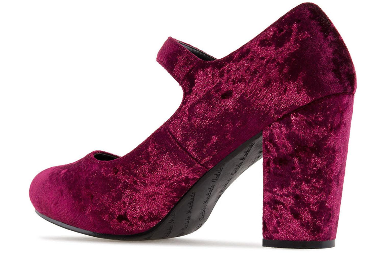 ANDRES MACHADO - Damen Samt Pumps Mary Jane Stil - Weinrot Schuhe in Übergrößen – Bild 2