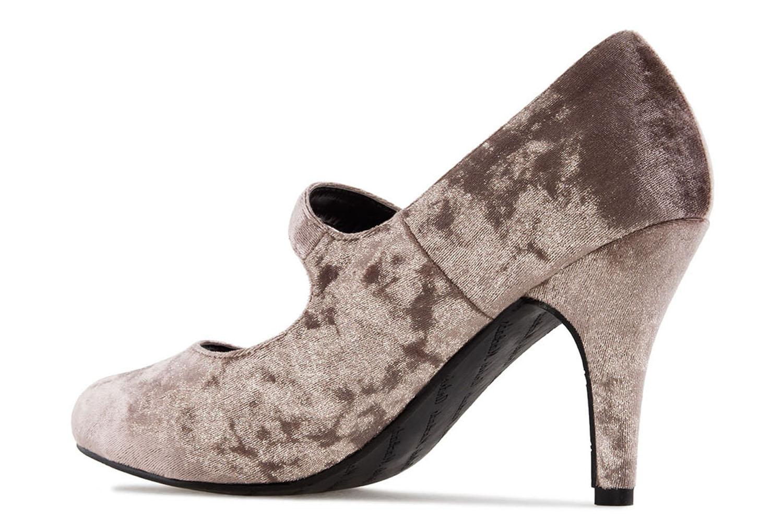 ANDRES MACHADO - Damen Samt Pumps Mary Jane Stil - Beige Schuhe in Übergrößen – Bild 2