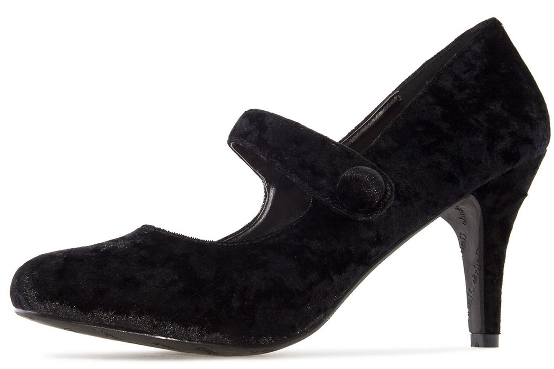 Andres Machado Pumps in Übergrößen Schwarz AM5203 Velvet Negro große Damenschuhe – Bild 1