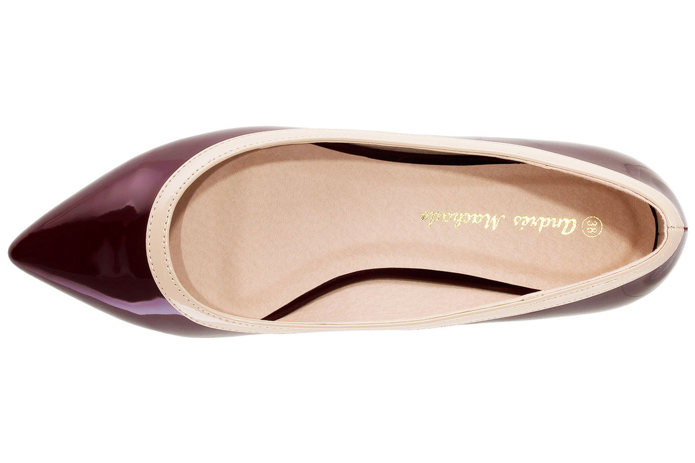 ANDRES MACHADO - Damen Lack Ballerina - Weinrot Schuhe in Übergrößen – Bild 5