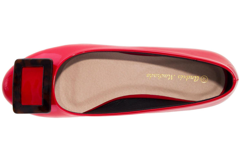 ANDRES MACHADO - Damen Lack Ballerina im Carey Stil - Rot Schuhe in Übergrößen – Bild 5
