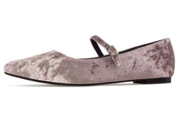 ANDRES MACHADO - Damen Samt Ballerina im Mary Jane Stil- Beige Schuhe in Übergrößen – Bild 1