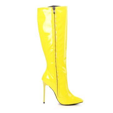 GIARO - Damen Plateau Stiefel - Lack Gelb Schuhe in Übergrößen – Bild 4