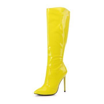 GIARO - Damen Plateau Stiefel - Lack Gelb Schuhe in Übergrößen – Bild 1