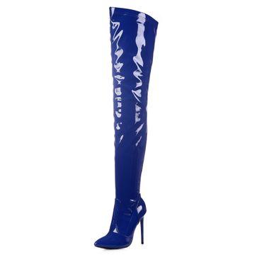 GIARO - Damen Plateau Overknee Stiefel - Blau Schuhe in Übergrößen – Bild 1