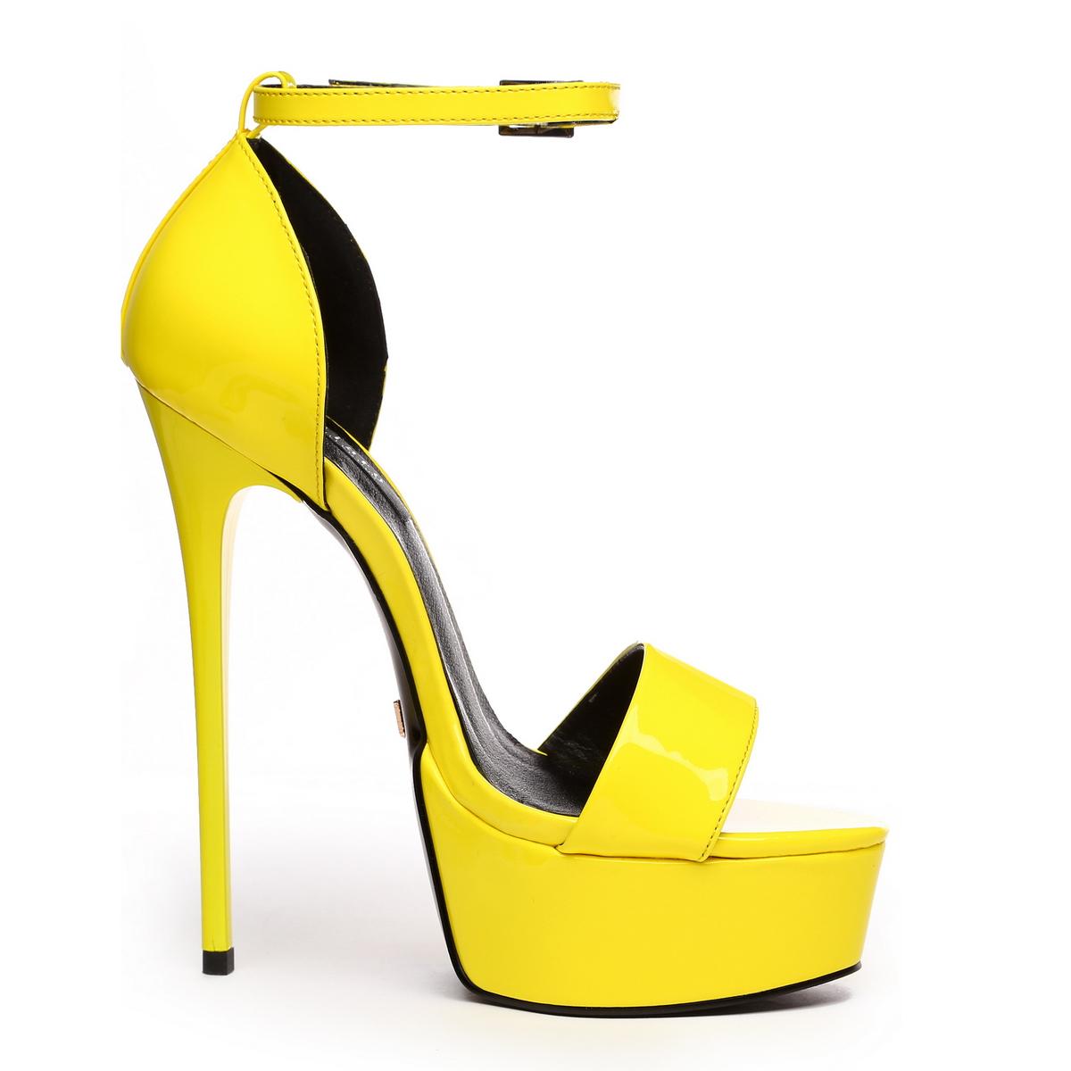 GIARO - Damen Plateau High Heel Sandalatten - Lack Gelb Schuhe in Übergrößen – Bild 4
