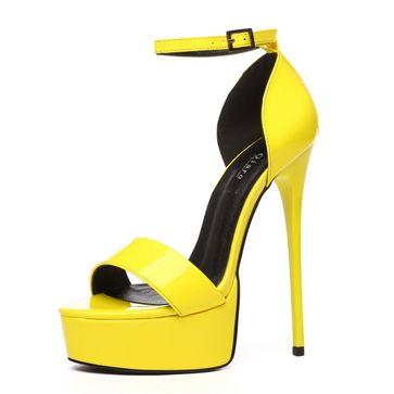 GIARO - Damen Plateau High Heel Sandalatten - Lack Gelb Schuhe in Übergrößen – Bild 1