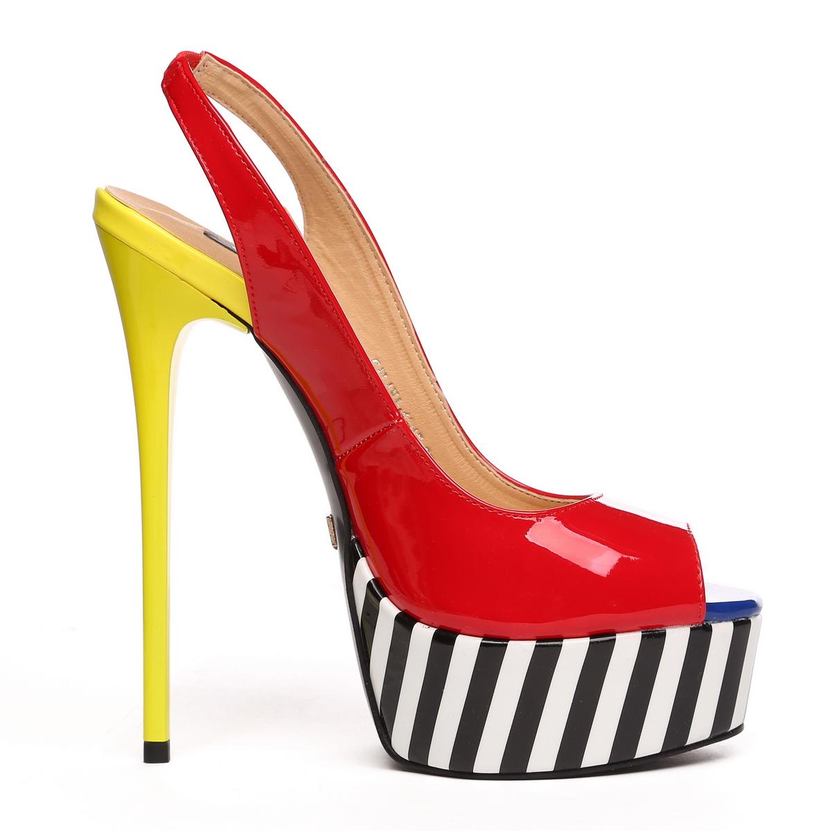 GIARO - Damen Plateau High Heel Pumps - Lack Merfarbig Schuhe in Übergrößen – Bild 4