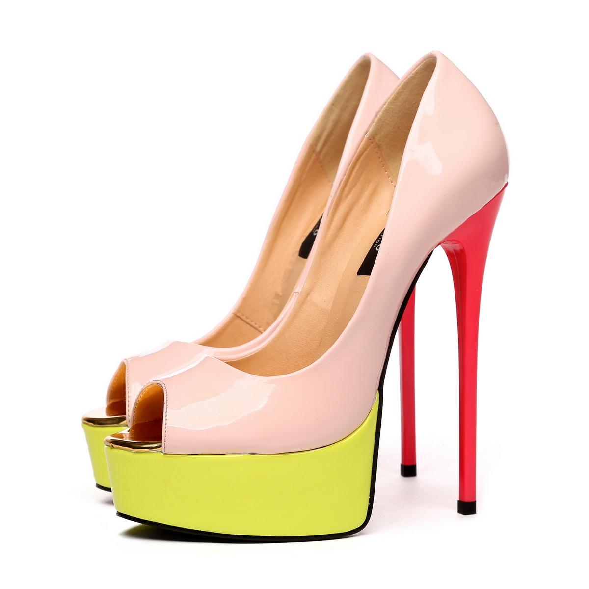 GIARO - Damen Plateau High Heel Pumps - Lack Merfarbig Schuhe in Übergrößen – Bild 2