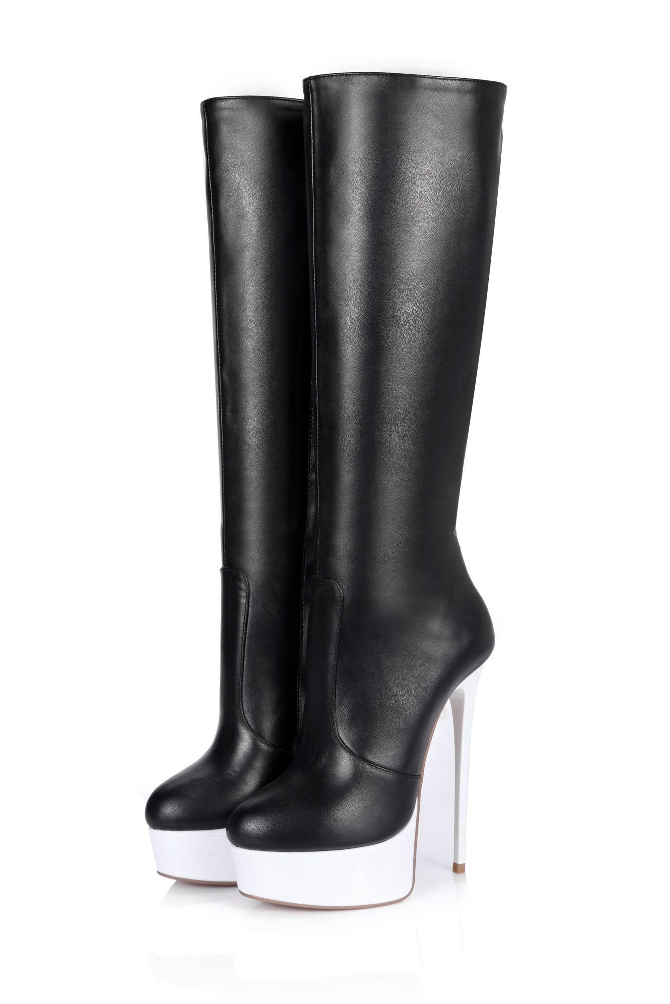 GIARO - Damen Plateau Stiefel - Lack Schwarz Schuhe in Übergrößen – Bild 4