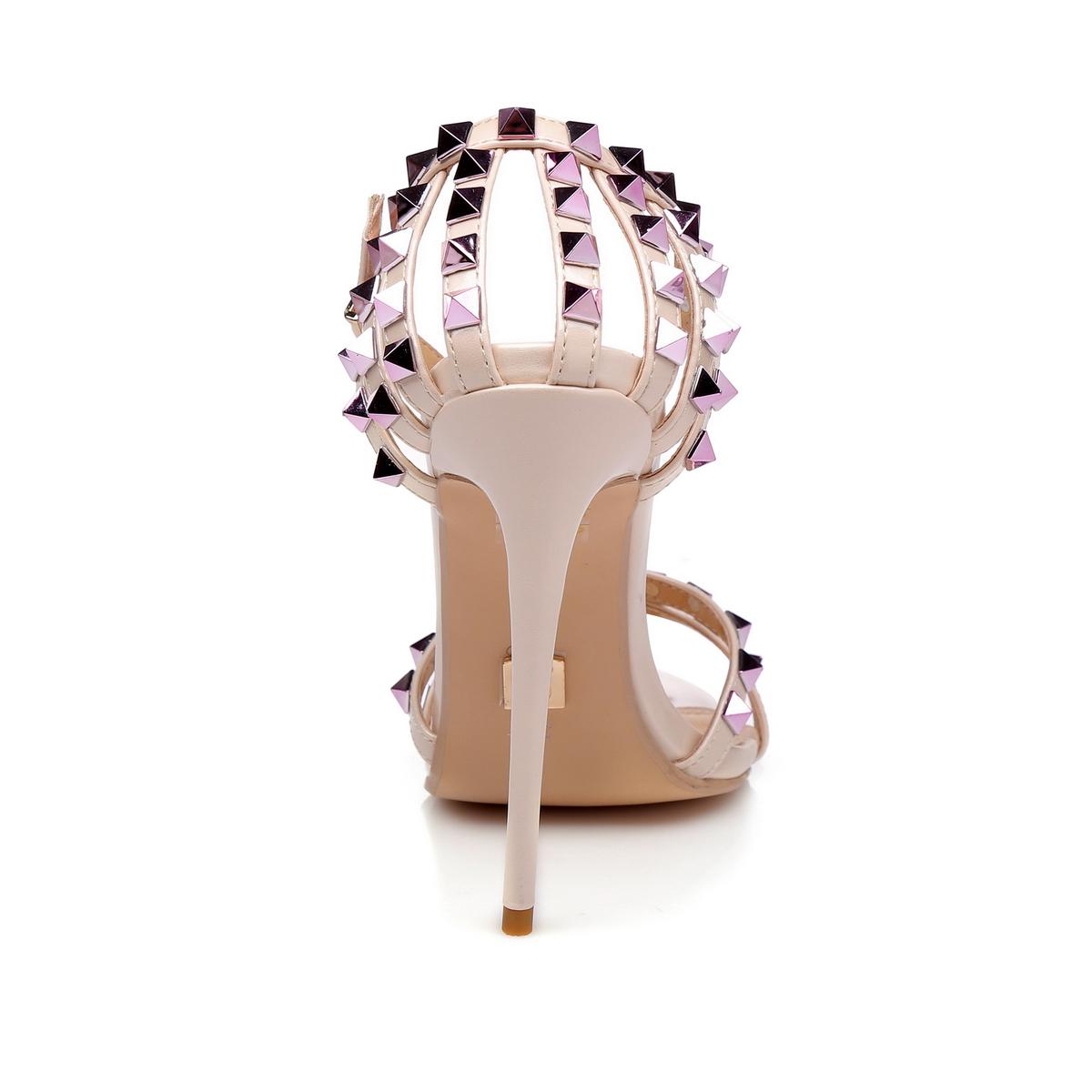 GIARO - Damen High Heel Sandalatten - Hautfarbend Schuhe in Übergrößen – Bild 3