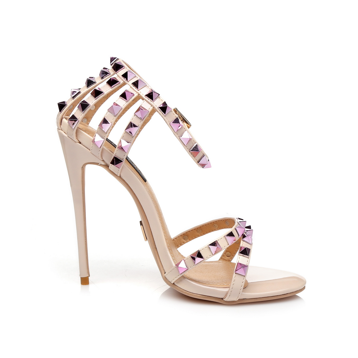 GIARO - Damen High Heel Sandalatten - Hautfarbend Schuhe in Übergrößen – Bild 4