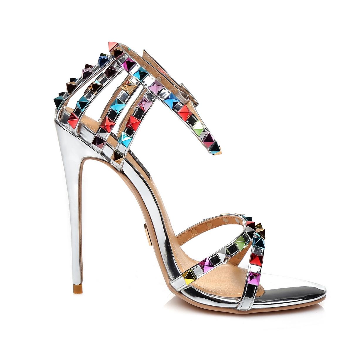 GIARO - Damen High Heel Sandalatten - Silber Schuhe in Übergrößen – Bild 4