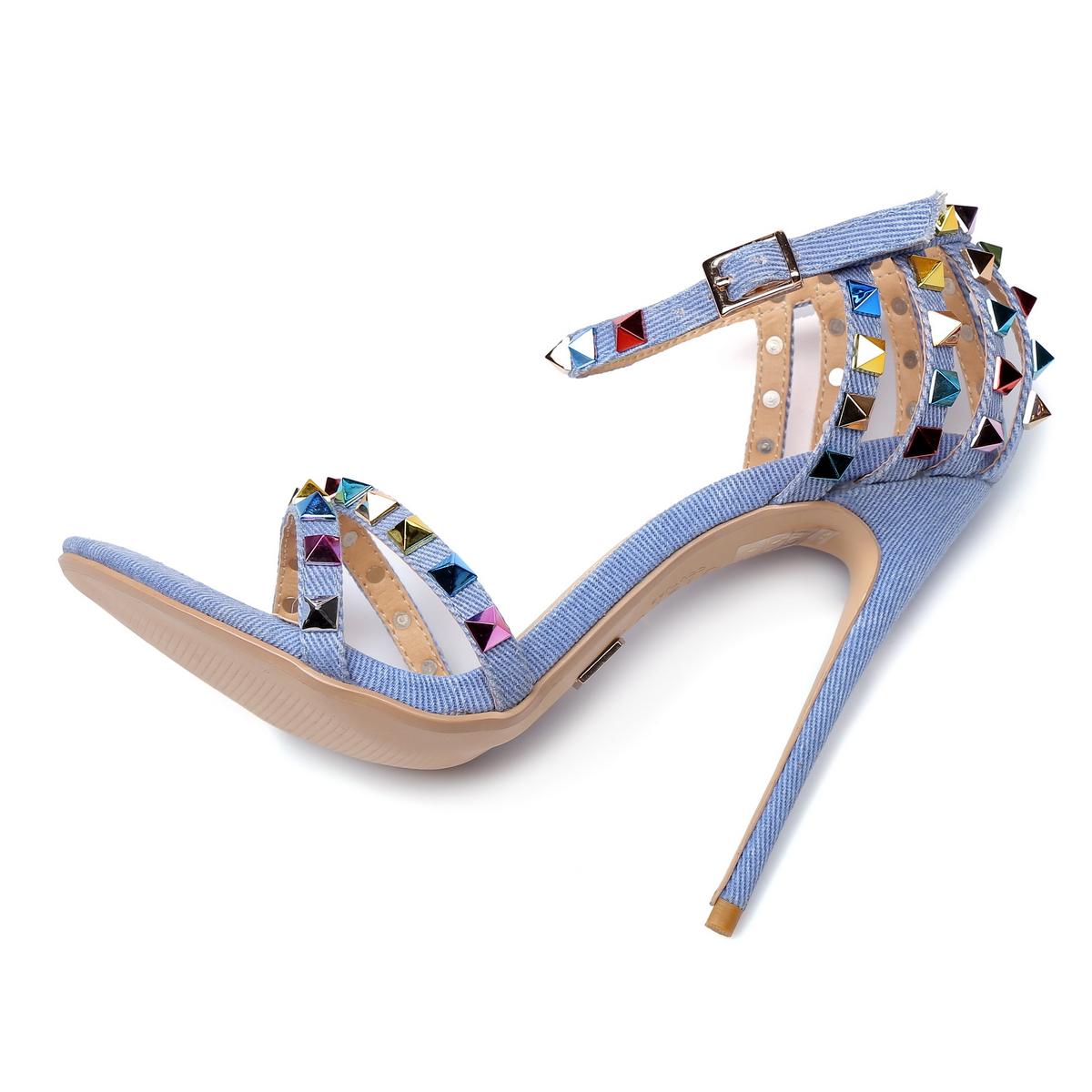 GIARO - Damen High Heel Sandalatten - Blau Schuhe in Übergrößen – Bild 5