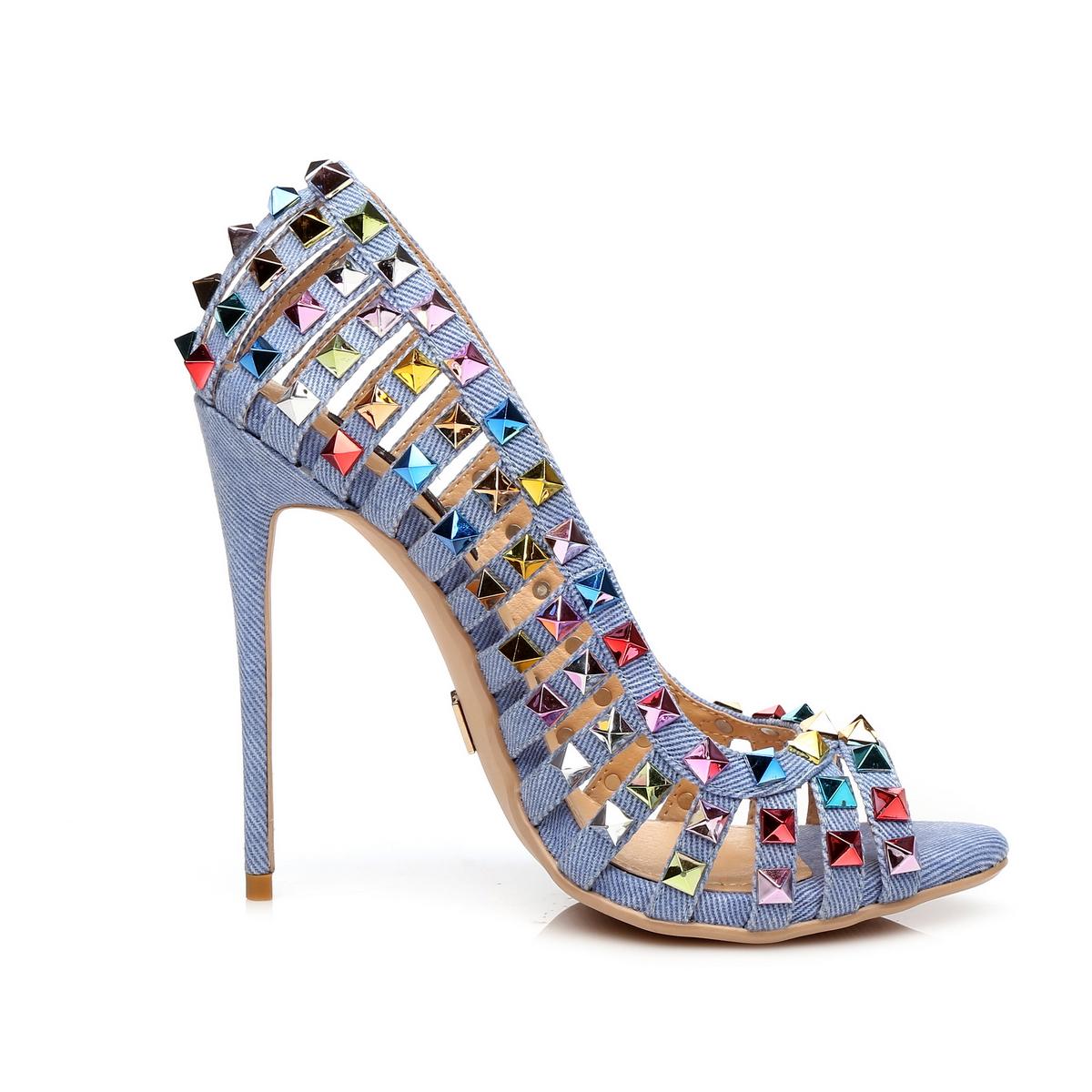 GIARO - Damen High Heel Pumps - Blau Schuhe in Übergrößen – Bild 4