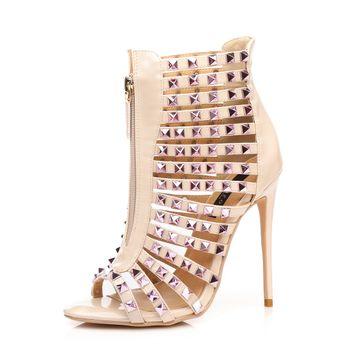 GIARO - Damen High Heel Sandalatten - Hautfarbend Schuhe in Übergrößen – Bild 1