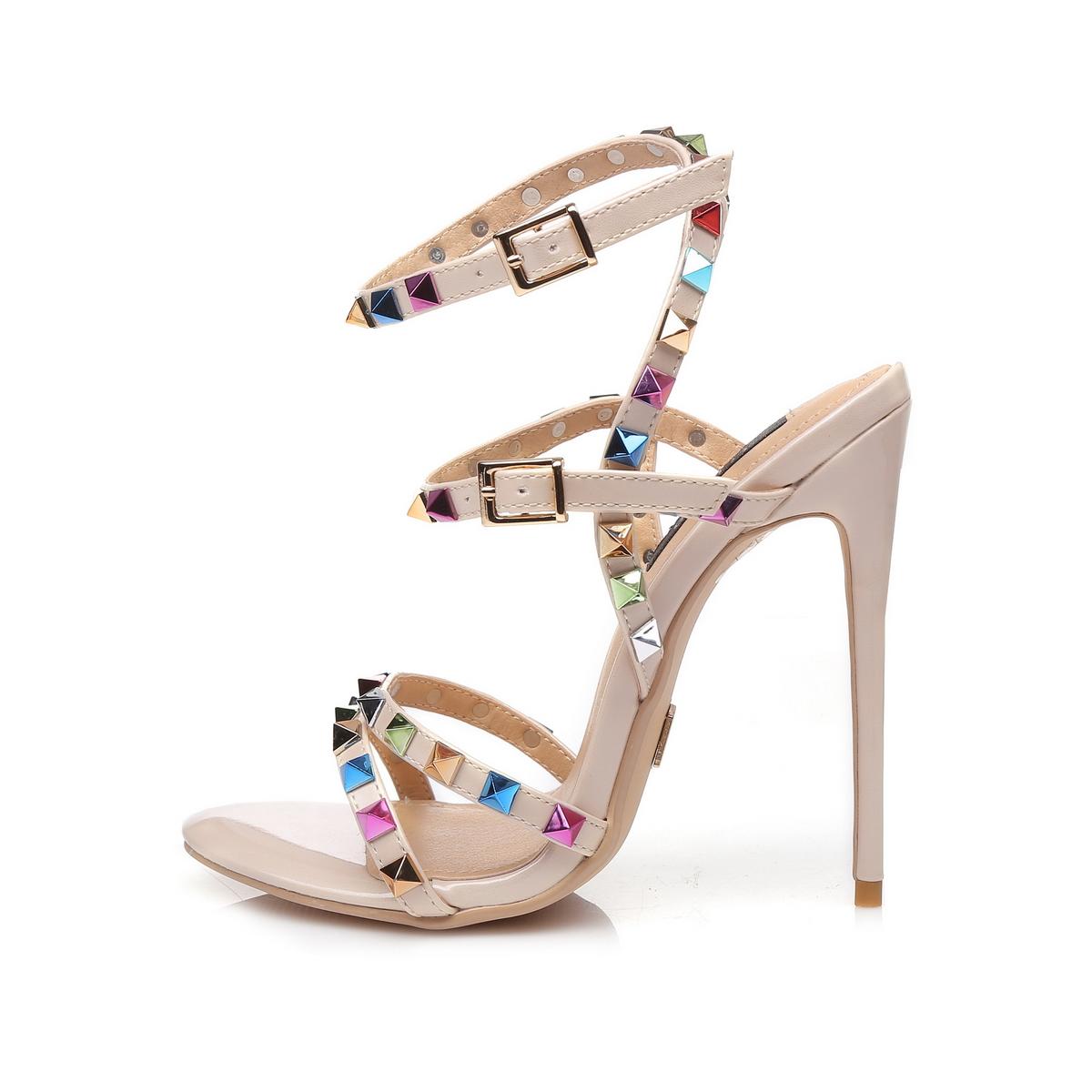 GIARO - Damen High Heel Sandalatten - Hautfarbend Schuhe in Übergrößen – Bild 2