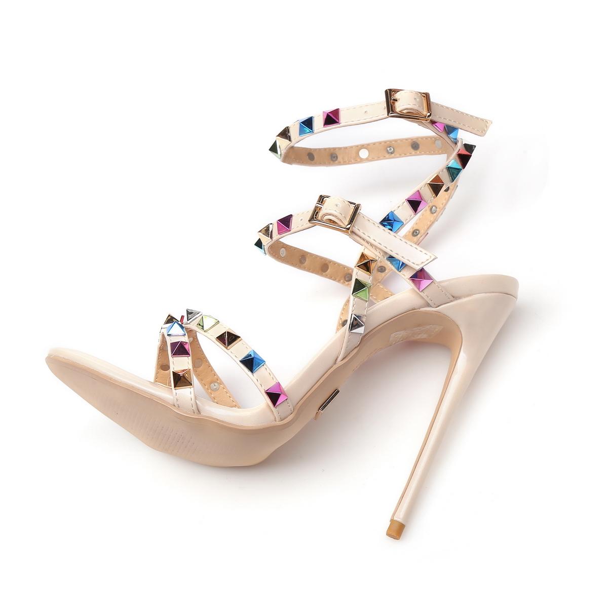 GIARO - Damen High Heel Sandalatten - Hautfarbend Schuhe in Übergrößen – Bild 5