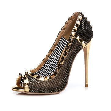 Giaro Sandaletten in Übergrößen Gold Milo Gold Mesh/Gold große Damenschuhe – Bild 1
