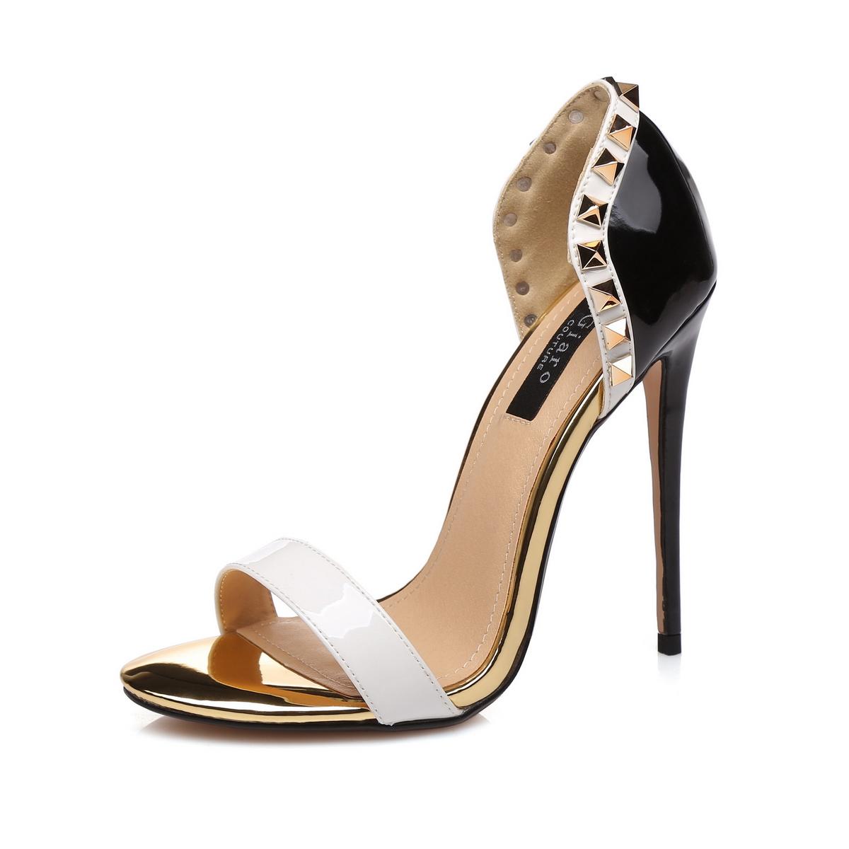 GIARO - Damen High Heel Sandalatten - Schwarz Schuhe in Übergrößen – Bild 1
