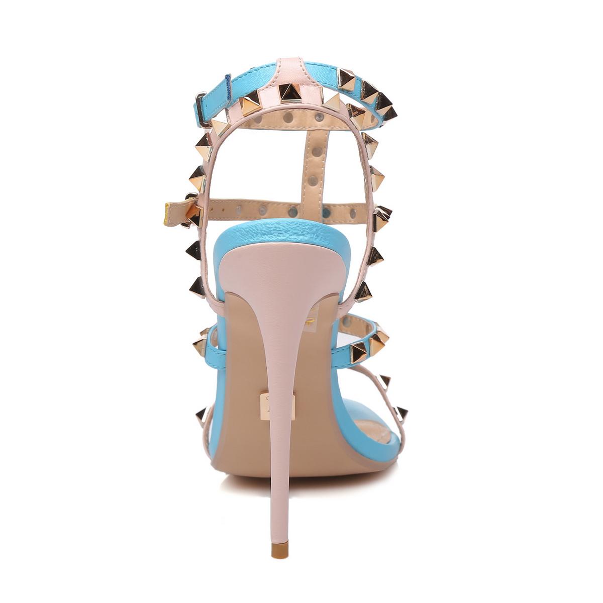 GIARO - Damen High Heel Sandalatten - Blau Schuhe in Übergrößen – Bild 3