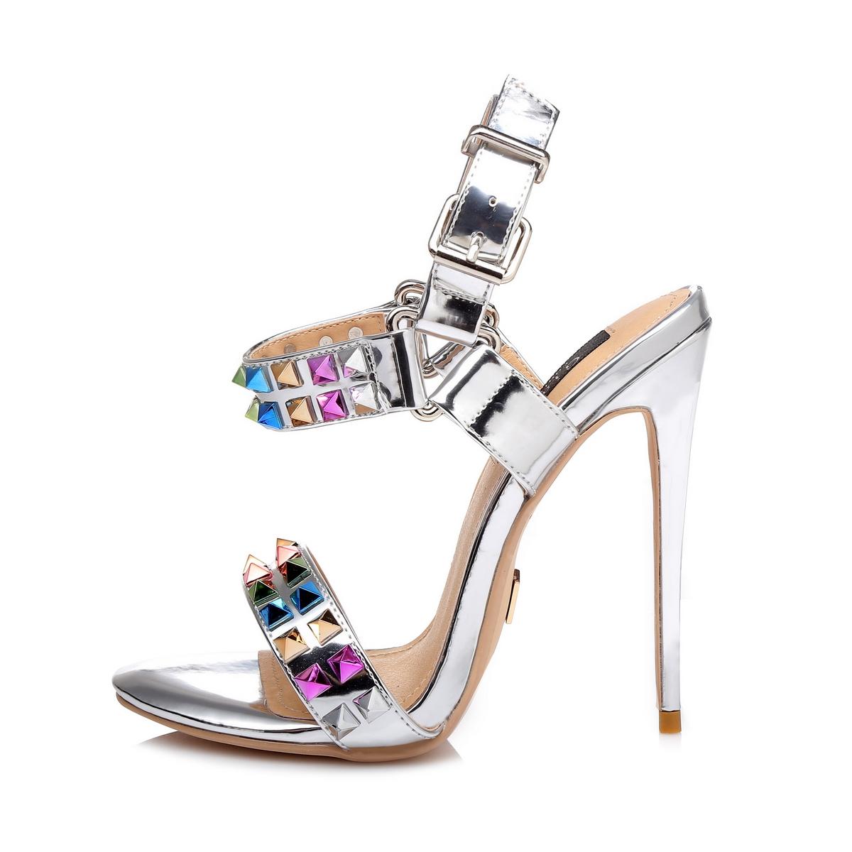 GIARO - Damen High Heel Sandalatten - Silber Schuhe in Übergrößen – Bild 2