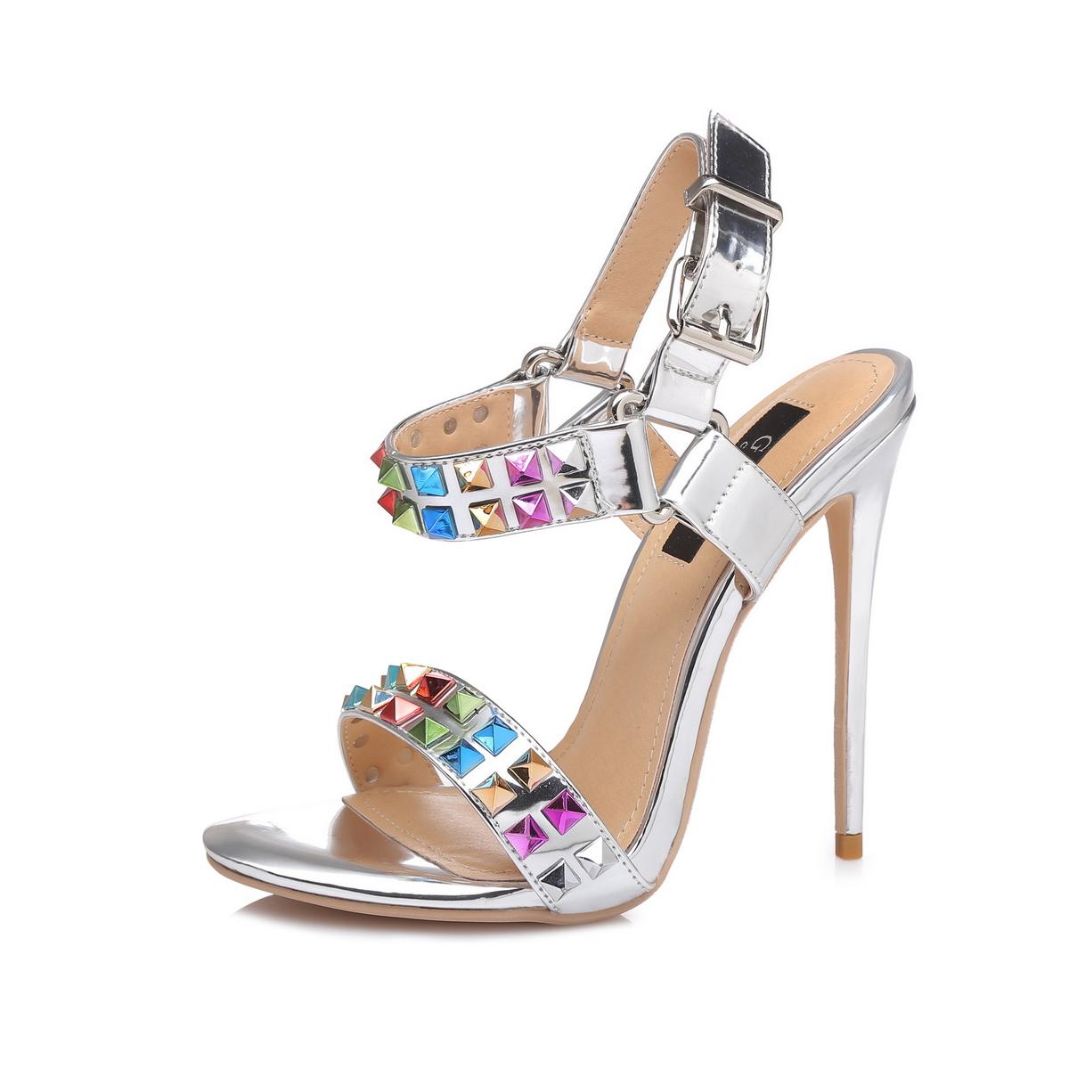 GIARO - Damen High Heel Sandalatten - Silber Schuhe in Übergrößen – Bild 1