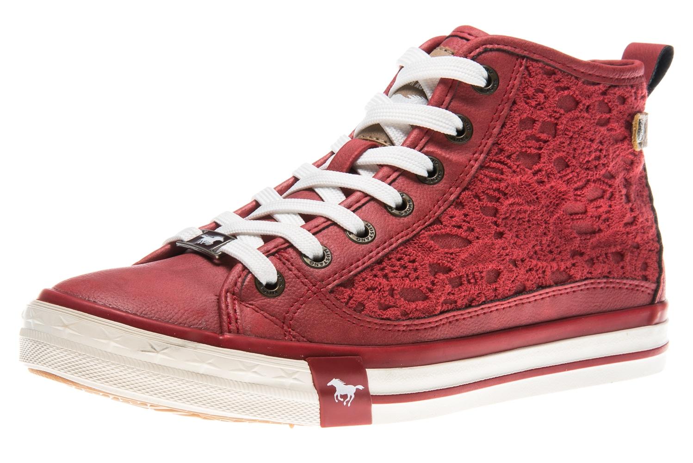 Mustang Shoes High Top Sneaker in Übergrößen rot 1146-507-5 große Damenschuhe – Bild 1