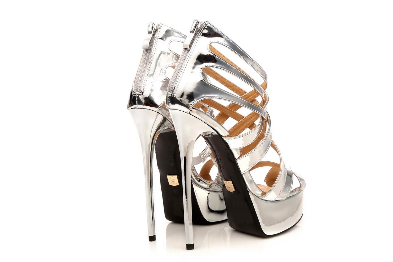 GIARO High Heel Sandalatten in Übergrößen Silber Liquid Silver große Damenschuhe – Bild 4