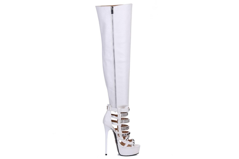 GIARO Plateau Stiefel Marchaplat Weiß White Snake große Damenschuhe – Bild 5