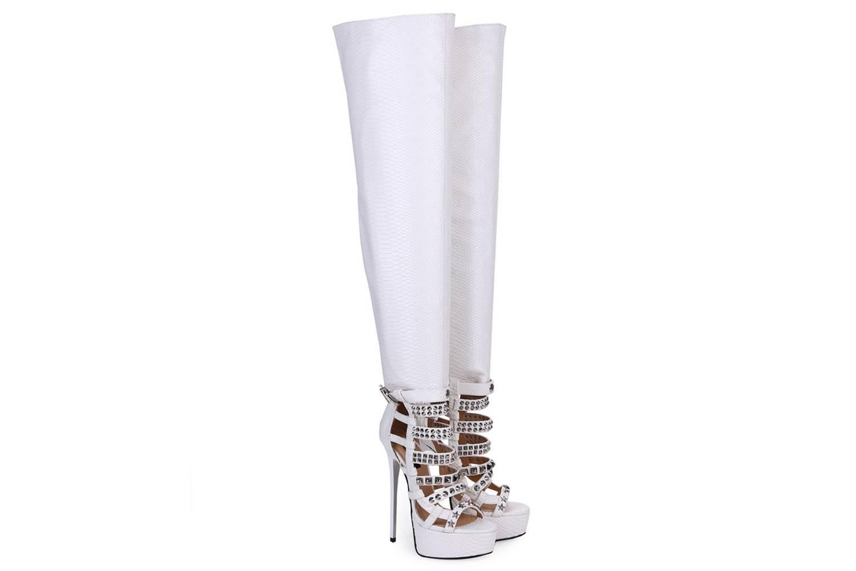 GIARO Plateau Stiefel Marchaplat Weiß White Snake große Damenschuhe – Bild 6