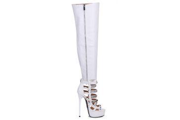 GIARO Plateau Stiefel Marchaplat Weiß White Snake große Damenschuhe – Bild 4