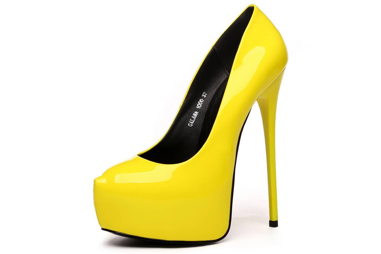Giaro Galana 1000 Yellow Shiny High Heels in Übergrößen Gelb große Damenschuhe – Bild 1