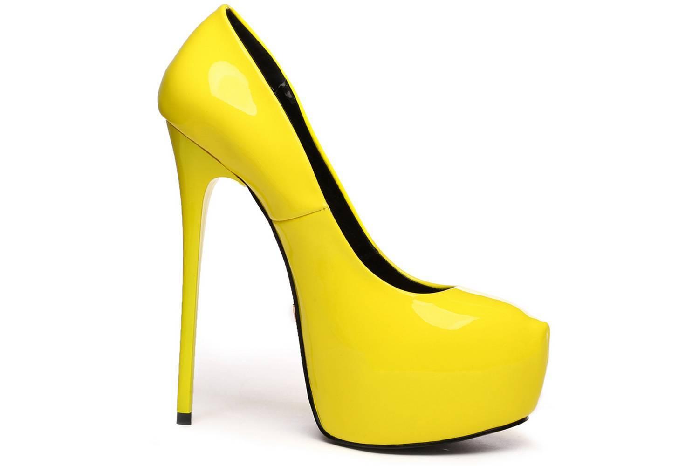 Giaro Galana 1000 Yellow Shiny High Heels in Übergrößen Gelb große Damenschuhe – Bild 5