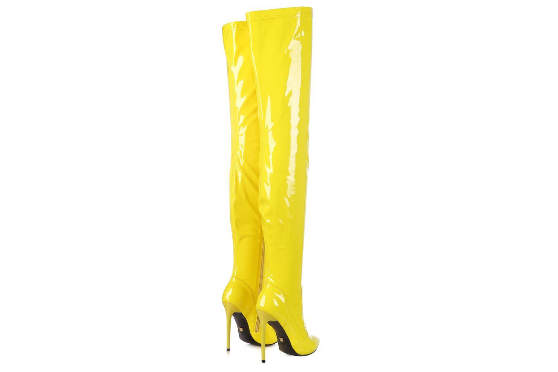 GIARO - Elegance 1004 Yellow Shiny Plateau Overknee Stiefel - Gelb Schuhe in Übergrößen – Bild 4