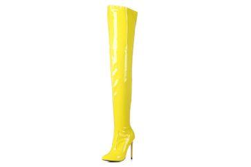 GIARO - Elegance 1004 Yellow Shiny Plateau Overknee Stiefel - Gelb Schuhe in Übergrößen – Bild 1