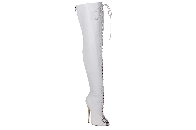 GIARO Beastmode Overknee Stiefel in Übergrößen Weiß große Damenschuhe – Bild 5