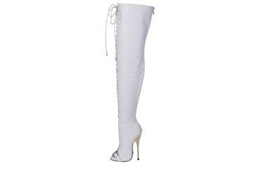 GIARO Beastmode Overknee Stiefel in Übergrößen Weiß große Damenschuhe – Bild 1