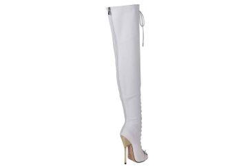 GIARO Beastmode Overknee Stiefel in Übergrößen Weiß große Damenschuhe – Bild 3
