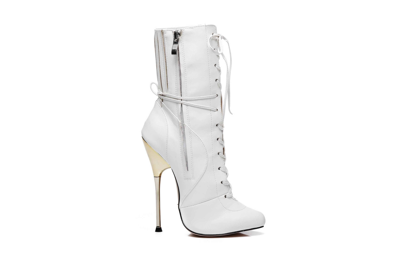 GIARO Burn It White Matte Ankle Boots in Übergrößen Weiß große Damenschuhe – Bild 4