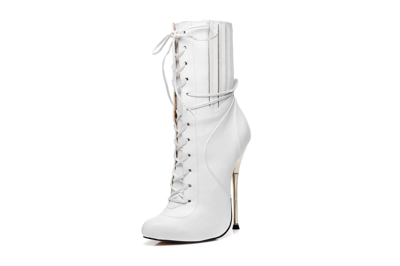 GIARO Burn It White Matte Ankle Boots in Übergrößen Weiß große Damenschuhe – Bild 7