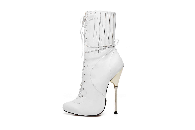 GIARO Burn It White Matte Ankle Boots in Übergrößen Weiß große Damenschuhe – Bild 1