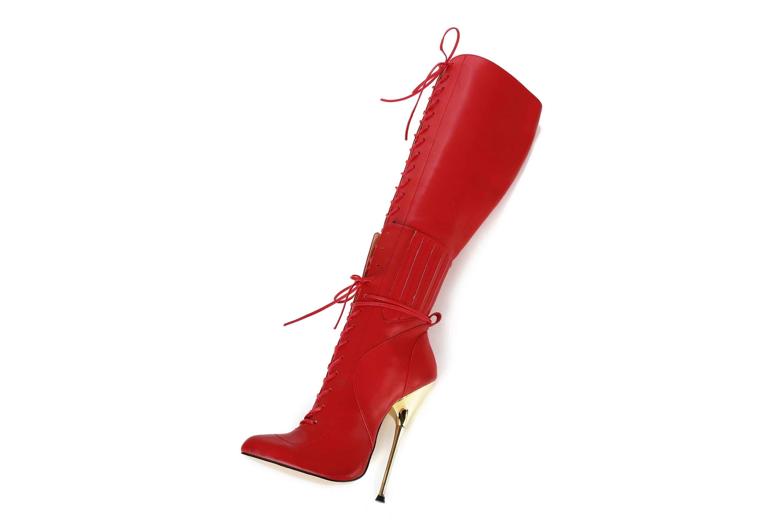 GIARO Brainbuster Red Matte Stiefel in Übergrößen Rot große Damenschuhe – Bild 8
